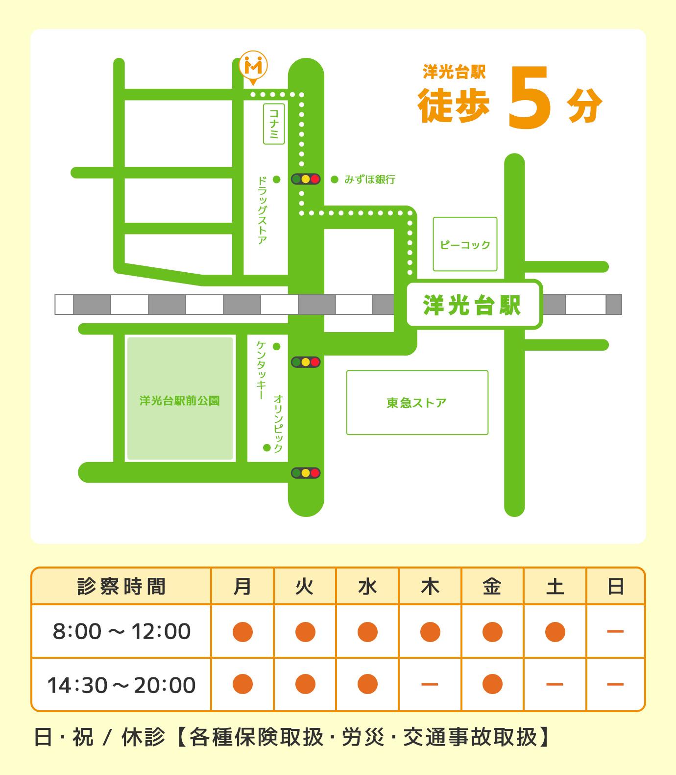 みた接骨院の地図:洋光台駅徒歩5分